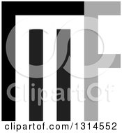 Clipart Of A Gray And Black Abstract Letter M And F Design Royalty Free Vector Illustration