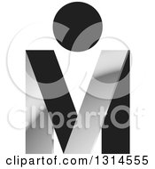 Clipart Of A Black And Silver Abstract Letter M And V With A Dot Royalty Free Vector Illustration