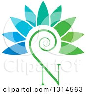 Clipart Of A Letter N Tendril And Flower Petals Royalty Free Vector Illustration