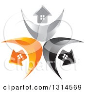 Clipart Of A Circle Of Black Silver And Orange Arrow Homes On Swooshes Royalty Free Vector Illustration