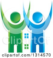 Clipart Of A Blue And Green Cheering Couple With A House Between Them Royalty Free Vector Illustration
