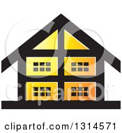 Clipart Of A Black And Orange House Icon Royalty Free Vector Illustration by Lal Perera