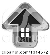 Clipart Of A Black White And Metal Arrow Shaped Home Icon Royalty Free Vector Illustration by Lal Perera