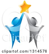 Clipart Of A 3d Blue And Silver Couple Cheering With A Star Royalty Free Vector Illustration by Lal Perera