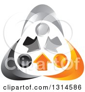 Clipart Of A Silver Orange And Black People Holding Hands Around Arrows Royalty Free Vector Illustration by Lal Perera