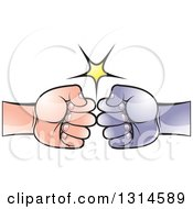 Clipart Of A White And Black Fists Bumping Royalty Free Vector Illustration