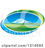 Clipart Of A Mountain And Valley Oval Icon With Blue And Green Swooshes Royalty Free Vector Illustration by Lal Perera