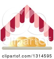 Clipart Of A Plate Of Buns Under A Pink And Red Hut Roof Royalty Free Vector Illustration