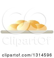 Clipart Of A Plate Of Buns Royalty Free Vector Illustration