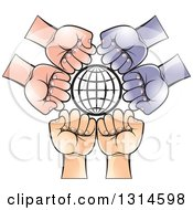 Clipart Of A Black Grid Globe Encircled With Different Colored Hands Royalty Free Vector Illustration by Lal Perera