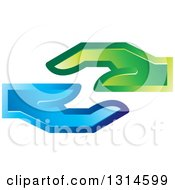 Clipart Of Gradient Green And Blue Hands Royalty Free Vector Illustration