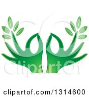 Clipart Of Gradient Green Hands With Leaves Royalty Free Vector Illustration by Lal Perera