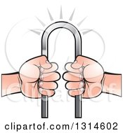 Clipart Of White Hands Holding An Iron Bar Royalty Free Vector Illustration by Lal Perera