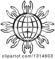 Clipart Of A Black Grid Globe Encircled With Hands Royalty Free Vector Illustration by Lal Perera