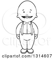 Clipart Of A Black And White Silhouetted Senior Man With A Mustache Royalty Free Vector Illustration