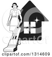 Clipart Of A Black And White Maid Vaccuming Over A Sparkly House Royalty Free Vector Illustration