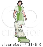 Maid Wearing A Green Uniform And Vaccuming