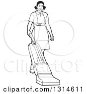 Clipart Of A Black And White Maid Vaccuming Royalty Free Vector Illustration