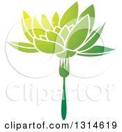 Clipart Of A Gradient Green Water Lily Lotus Flower On A Fork Royalty Free Vector Illustration