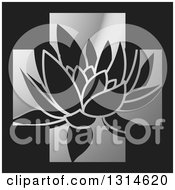 Clipart Of A Water Lily Lotus Flower Over A Silver Cross On Black Royalty Free Vector Illustration by Lal Perera