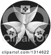 Clipart Of A Circle Of Computer Headed People On A Black Round Icon Royalty Free Vector Illustration by Lal Perera
