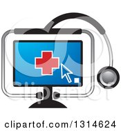 Clipart Of A Red Medical Cross On A Computer Screen In A Stethoscope Royalty Free Vector Illustration by Lal Perera