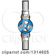 Clipart Of A Blue Stop Valve And Pipe Royalty Free Vector Illustration