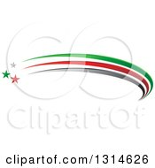 Clipart Of A Gray Green And Red Shooting Star And Swoosh Logo Royalty Free Vector Illustration by Lal Perera