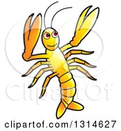 Clipart Of A Yellow Prawn Royalty Free Vector Illustration