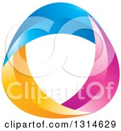 Clipart Of A Blue Pink And Yellow Swoosh Royalty Free Vector Illustration by Lal Perera