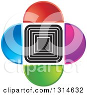 Clipart Of A Repeat Squares With Colorful Half Circles Royalty Free Vector Illustration