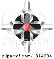 Clipart Of A Silver Cross With A Red Circle Over Black Royalty Free Vector Illustration