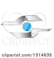 Clipart Of A Shiny Silver And Blue Icon Royalty Free Vector Illustration
