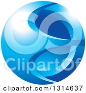 Clipart Of A Blue Abstract Gradient Icon Royalty Free Vector Illustration