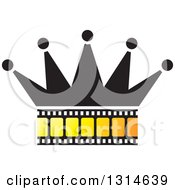 Clipart Of A Crown With A Yellow Film Strip Royalty Free Vector Illustration by Lal Perera