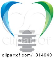 Clipart Of A Green And Blue Abstract Dental Implant Design Royalty Free Vector Illustration
