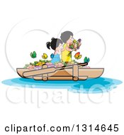 Clipart Of Happy Children With Flowers And Butterflies On A Boat Royalty Free Vector Illustration by Lal Perera
