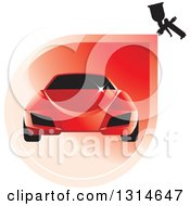 Red Sports Car And Spray Paint Icon