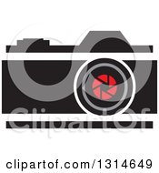 Clipart Of A Red And Black Camera Royalty Free Vector Illustration