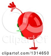 Clipart Of A 3d Tomato Character Doing A Cartwheel Royalty Free Illustration