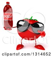 Clipart Of A 3d Tomato Character Wearing Sunglasses Holding And Pointing To A Soda Bottle Royalty Free Illustration