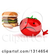 Clipart Of A 3d Unhappy Tomato Character Shrugging And Holding A Double Cheeseburger Royalty Free Illustration