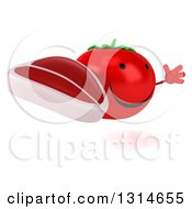 Clipart Of A 3d Happy Tomato Character Facing Right Jumping And Holding A Beef Steak Royalty Free Illustration