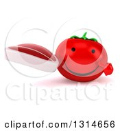 Clipart Of A 3d Happy Tomato Character Holding And Pointing To A Beef Steak Royalty Free Illustration