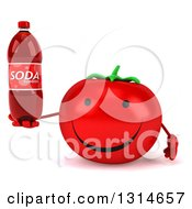 Clipart Of A 3d Happy Tomato Character Holding A Soda Bottle Royalty Free Illustration
