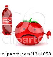 Clipart Of A 3d Unhappy Tomato Character Holding A Thumb Down And A Soda Bottle Royalty Free Illustration