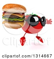 Clipart Of A 3d Tomato Character Wearing Sunglasses Facing Right Jumping And Holding A Double Cheeseburger Royalty Free Illustration