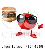 Clipart Of A 3d Tomato Character Wearing Sunglasses Shrugging And Holding A Double Cheeseburger Royalty Free Illustration