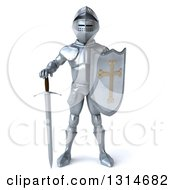 Clipart Of A 3d Armored Knight Holding His Sword Down Royalty Free Illustration by Julos