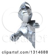 Clipart Of A 3d Armored Knight Pointing Outwards Around A Sign Royalty Free Illustration